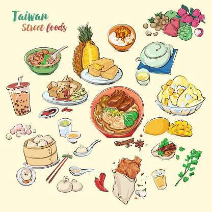 Hand draw Taiwan's street foods illustration. Colorful vector foods by painting style.
