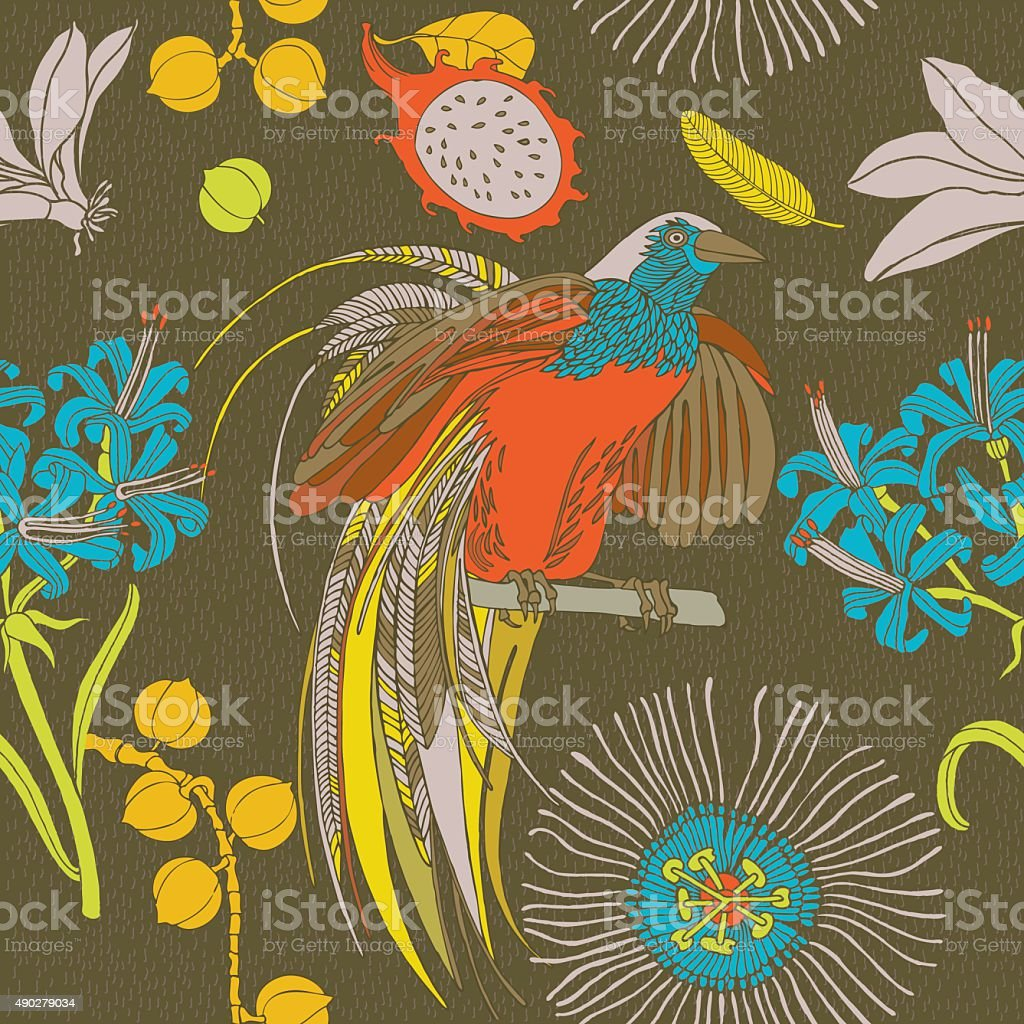 Hand Draw Tropical Flowers And Birds Stock Vector Art More Images