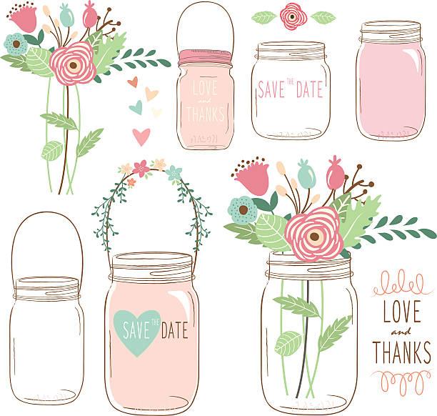 hand zeichnen hochzeit blumen mason jar- illustrationen - glasblumen stock-grafiken, -clipart, -cartoons und -symbole