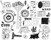 A vector illustration of Hand Draw Wood Logs Elements. Perfect for Woodland Animal theme, holiday, card and many more.