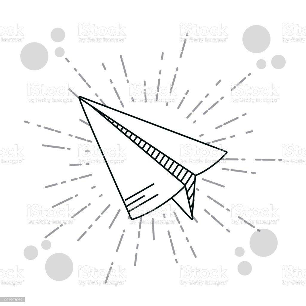 Hand drawer paper plane - Royalty-free Aerospace Industry stock vector