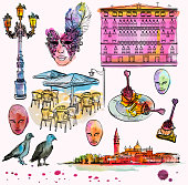 Hand drawing and watercolor set of Venice sketch, vector illustration