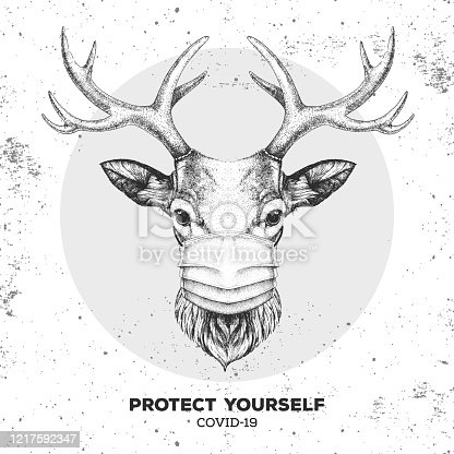 istock Hand drawing Animal deer wearing face medical mask. Covid-19 protection methods. Coronavirus Quarantine Warning. Vector illustration 1217592347