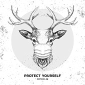 istock Hand drawing Animal deer wearing face medical mask. Covid-19 protection methods. Coronavirus Quarantine Warning. Vector illustration 1217592347