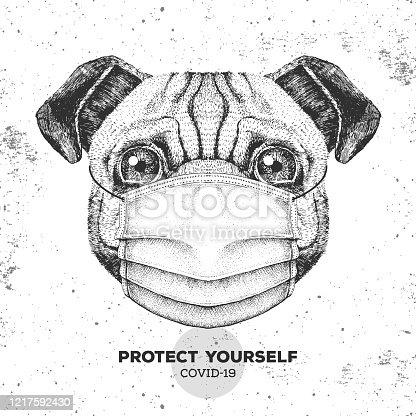 istock Hand drawing Animal pug dog wearing face medical mask. Covid-19 protection methods. Coronavirus Quarantine Warning. Vector illustration 1217592430