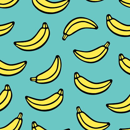 Hand drawing banana. Seamless vector pattern in sketch style