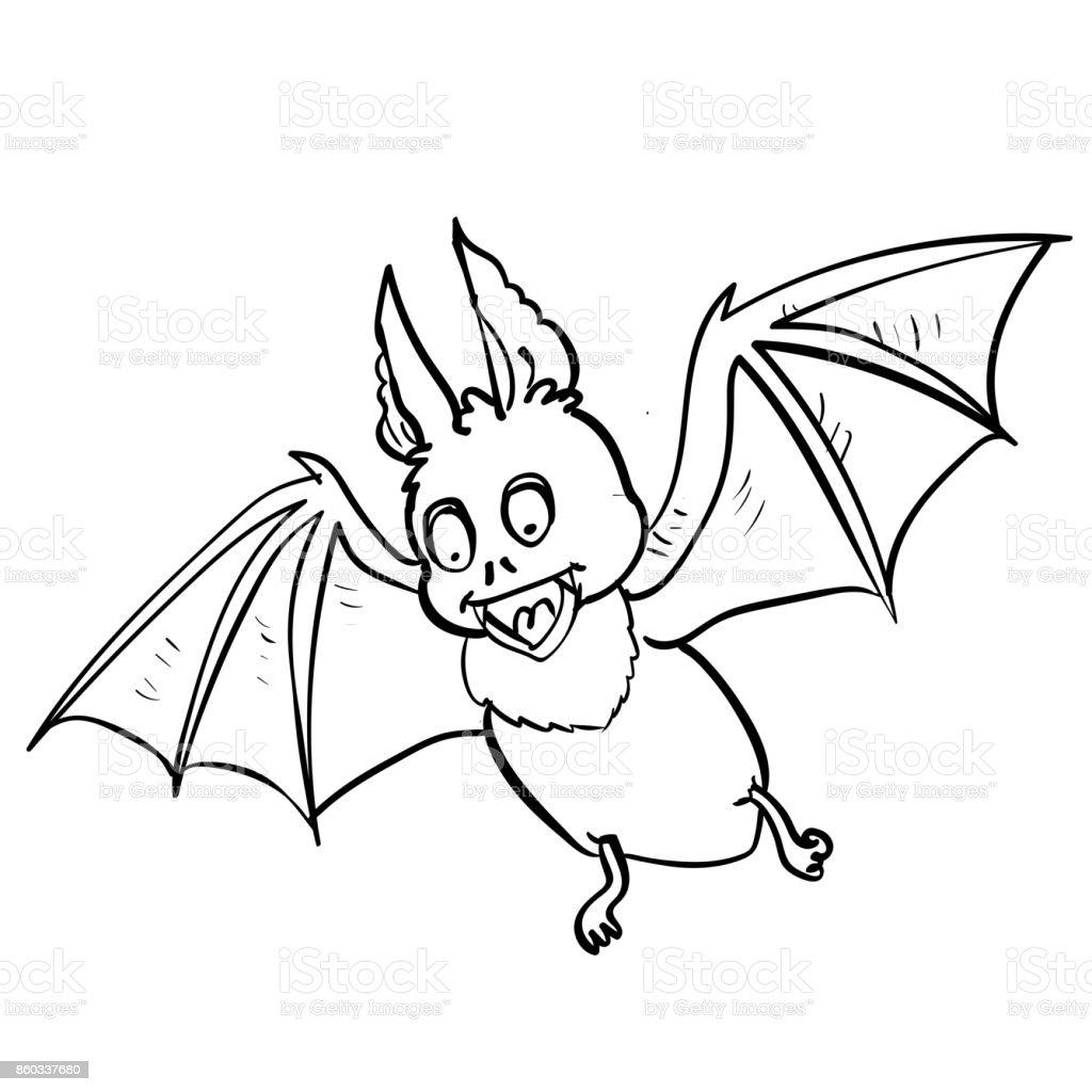 ilustração de mão de desenho cartoon de morcego para conceito de