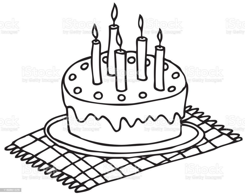 Prime Hand Drawing Birthday Cake With Candles Stock Illustration Funny Birthday Cards Online Alyptdamsfinfo
