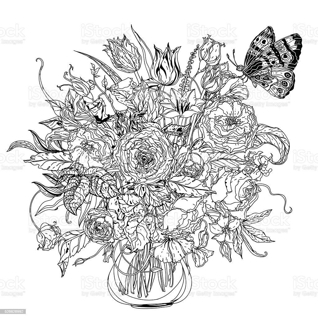 Main Dessiner Noir Et Blanc Fleur De Mandala Cliparts Vectoriels