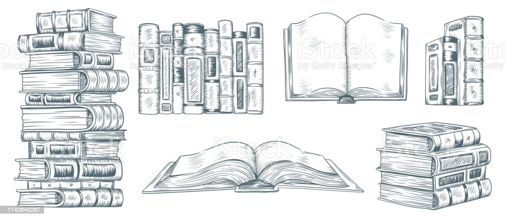 Hand drawing books. Drawn sketch of literature. School or college...