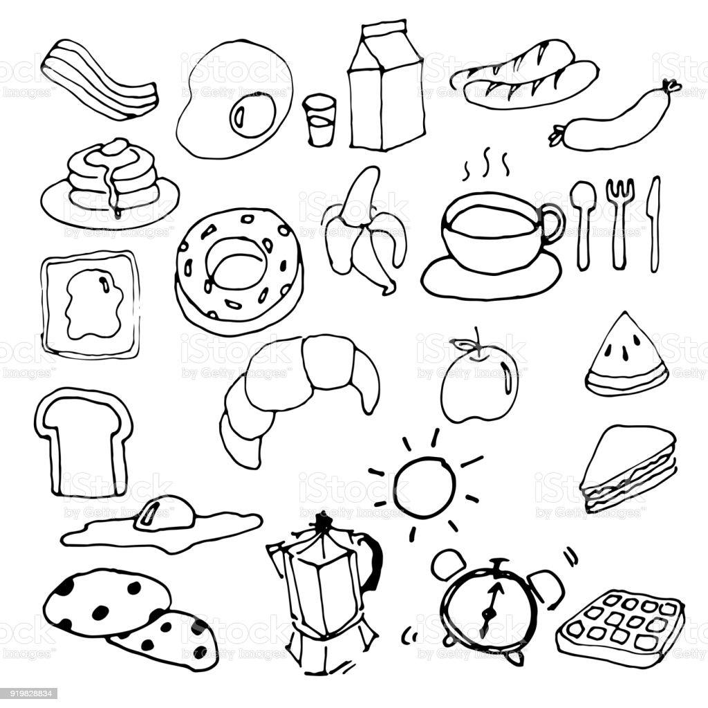 Dessin De Main Petit Déjeuner Doodle Vector Vecteurs Libres
