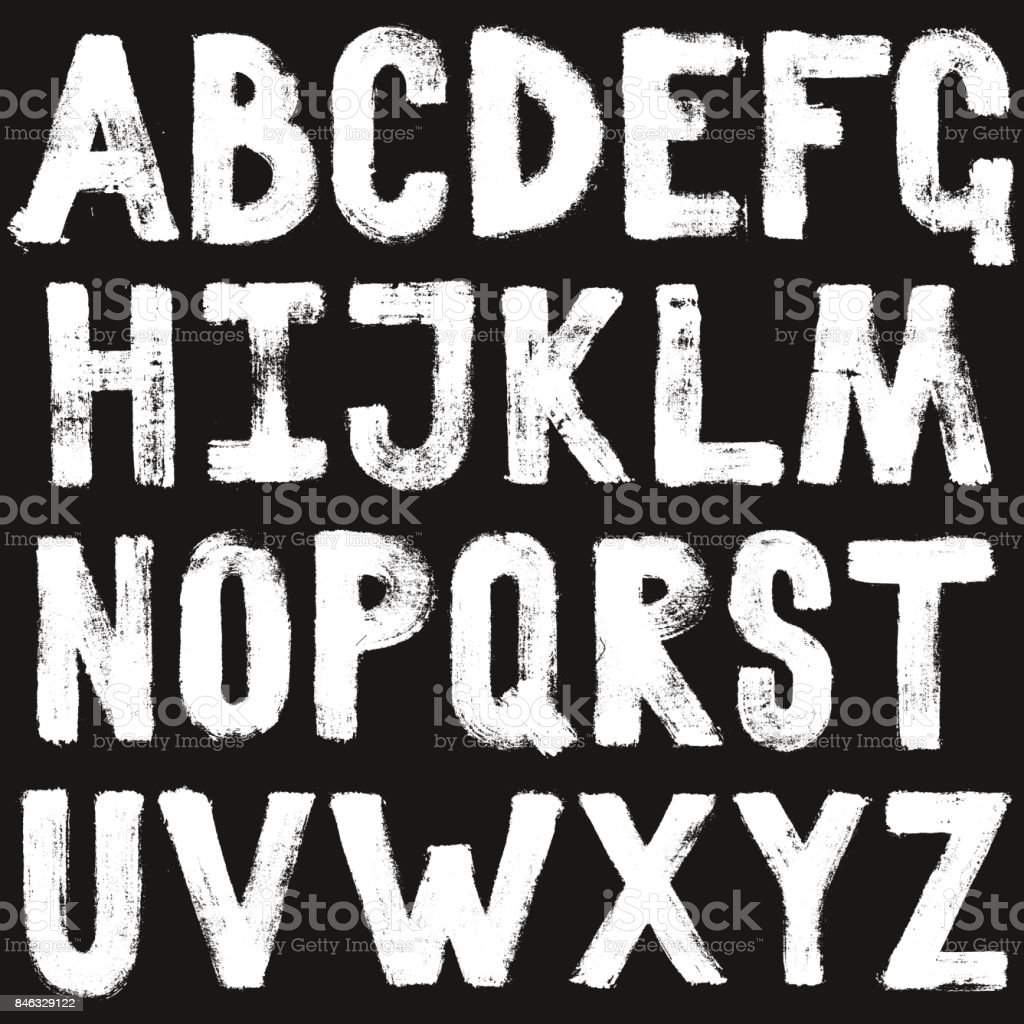 Hand drawing brush calligraphy texture of alphabet letters. Isolated vector set white on black vector art illustration