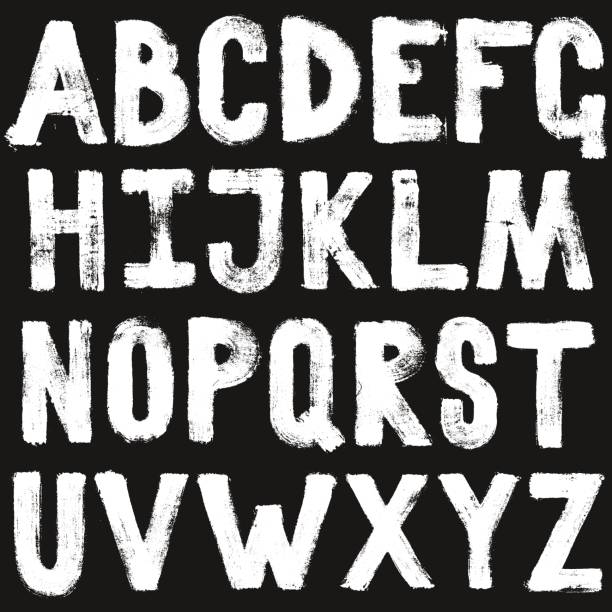 hand drawing brush calligraphy texture of alphabet letters. isolated vector set white on black - graffiti fonts stock illustrations, clip art, cartoons, & icons