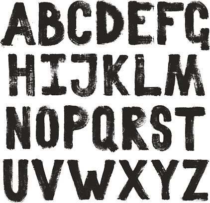 Hand drawing brush calligraphy texture of alphabet letters. Isolated vector set