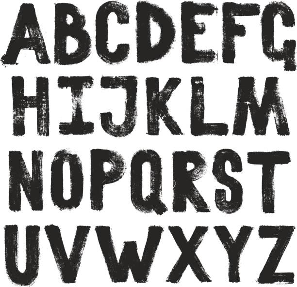 Hand drawing brush calligraphy texture of alphabet letters. Isolated vector set Hand drawing brush calligraphy texture of alphabet letters. Isolated vector set alphabet patterns stock illustrations