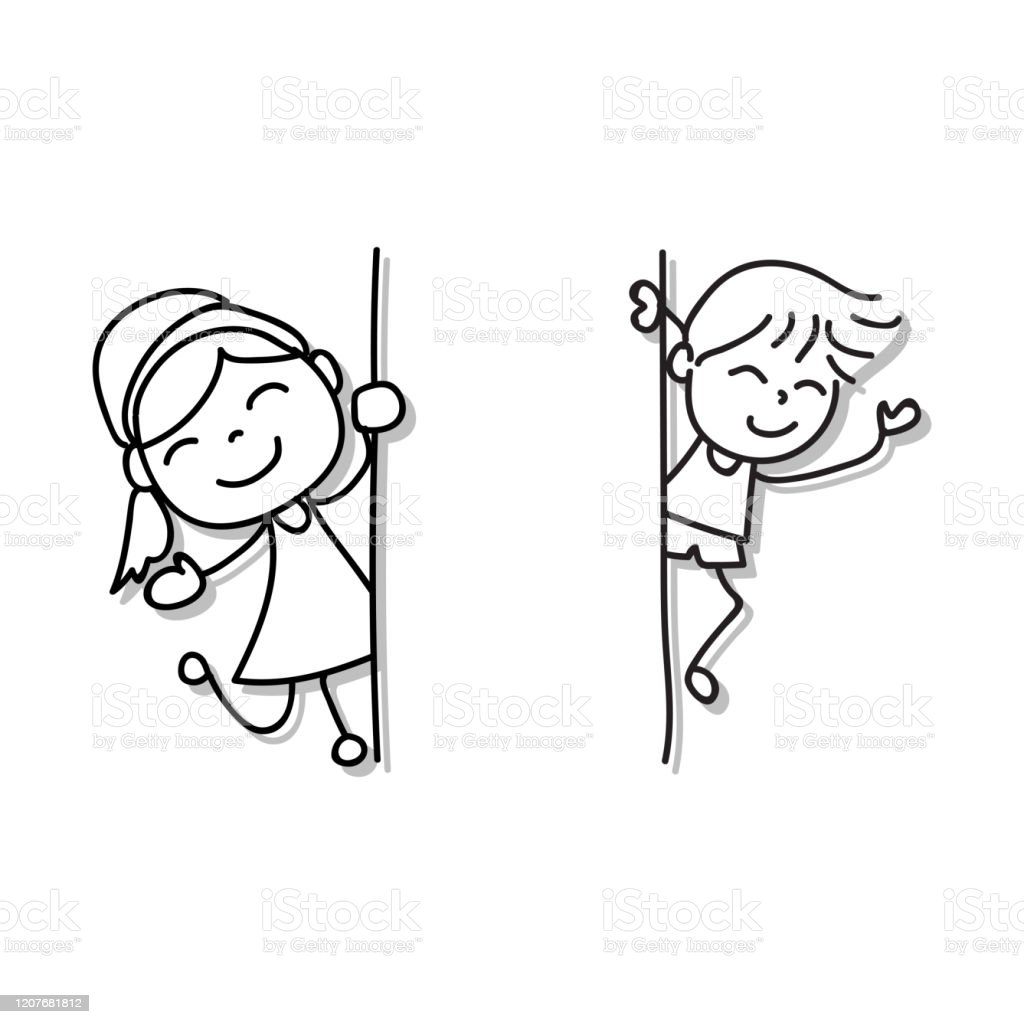 Hand Drawing Cartoon Character Happy Boy And Girl Appearing From