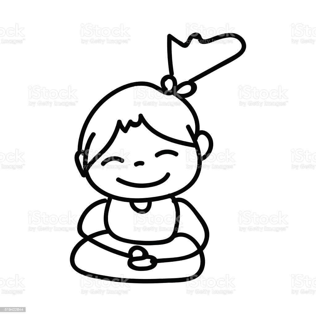 Hand drawing cartoon happy girl mediation illustration