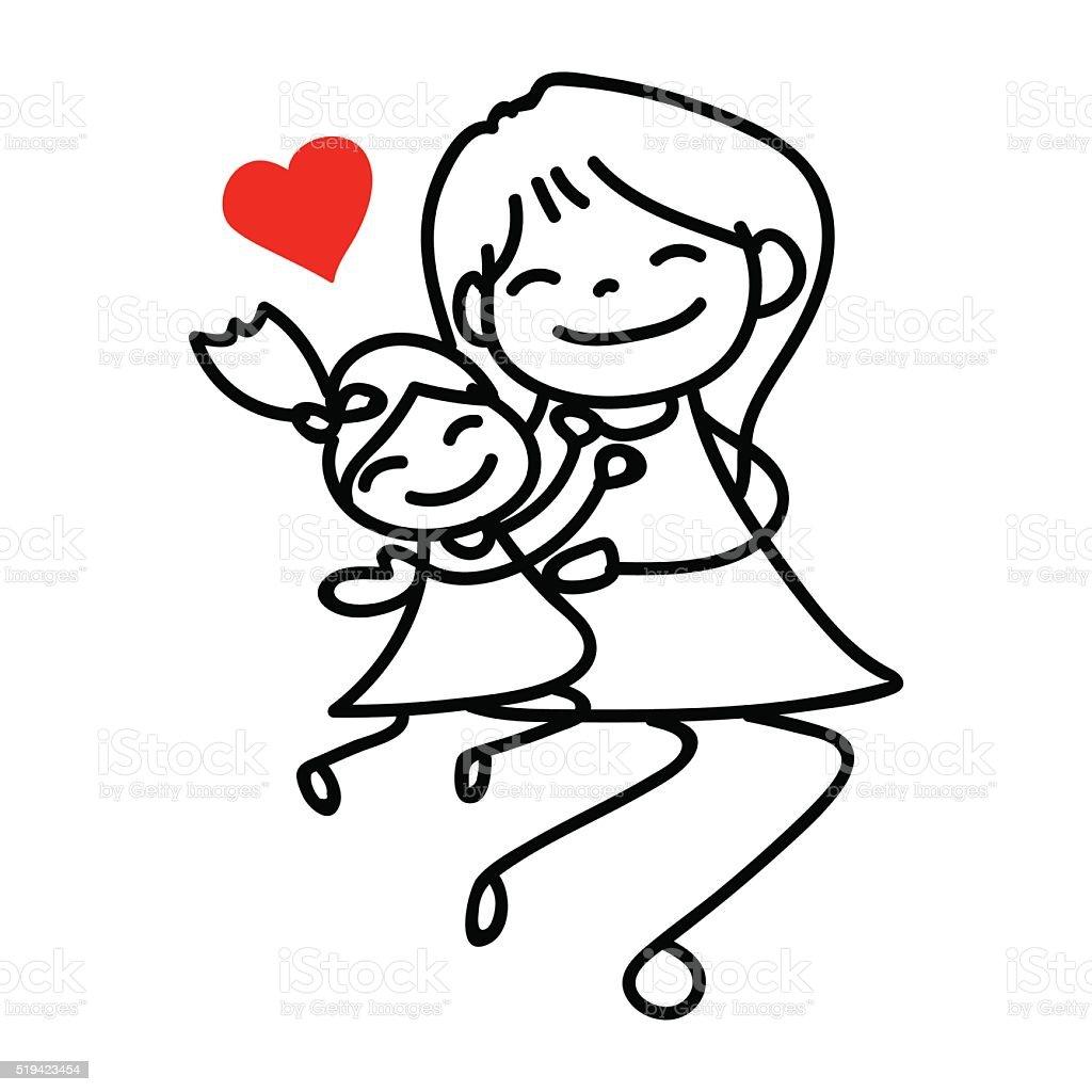 Mamma E Figlia Disegno.Mano Disegno Fumetto Di Felice Mamma E Figlia Immagini