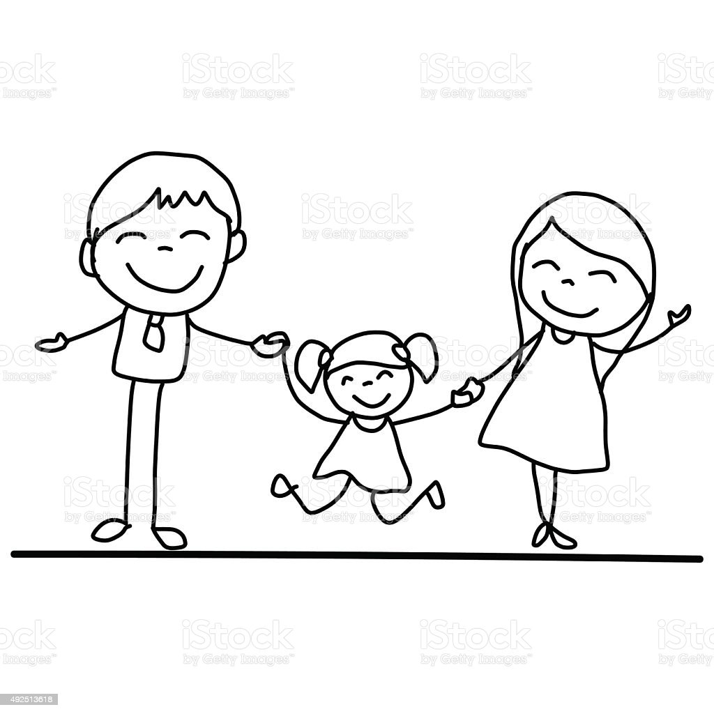 Hand Drawing Cartoon Happy Young Family Stock Vector Art More