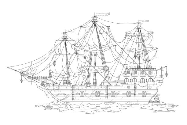 Royalty Free Old Wooden Hand Drawn Cartoon Ship Clip Art, Vector ...