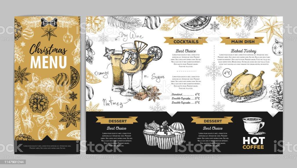 Hand Drawing Christmas Holiday Menu Design Restaurant Menu Stock Illustration Download Image Now