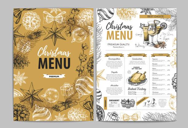 handzeichnung weihnachtsferienmenü design. speisekarte - lachskuchen stock-grafiken, -clipart, -cartoons und -symbole