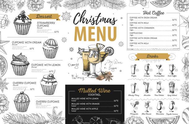 Hand drawing Christmas holiday menu design. Restaurant menu Hand drawing Christmas holiday menu design. Restaurant menu irish coffee stock illustrations