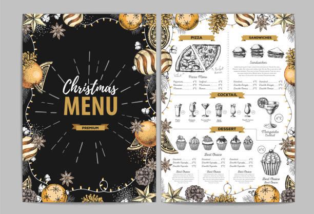 illustrazioni stock, clip art, cartoni animati e icone di tendenza di hand drawing christmas holiday menu design. restaurant menu - christmas cooking