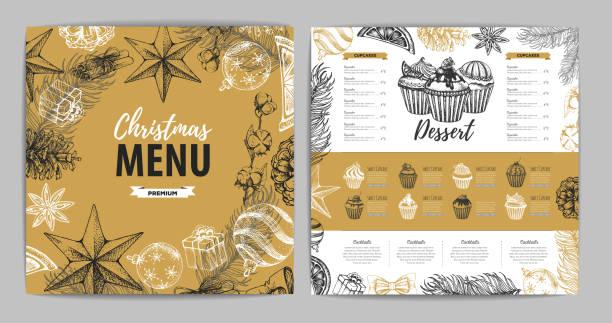 handzeichnung weihnachtsferienmenü design. speisekarte - weihnachtsschokolade stock-grafiken, -clipart, -cartoons und -symbole