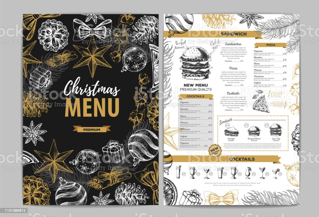 Hand Drawing Christmas Holiday Menu Design Restaurant Menu Stock Illustration Download Image Now Istock