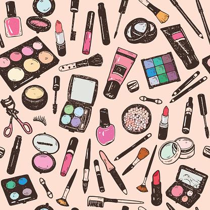 Hand drawing colorful cosmetics seamless pattern, nail polish, powder, concealer, mascara, eye shadow. Isolaterd vector set