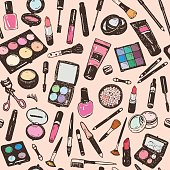 Hand drawing colorful cosmetics seamless pattern, nail polish, powder, concealer, mascara, eye shadow. Isolaterd vector set