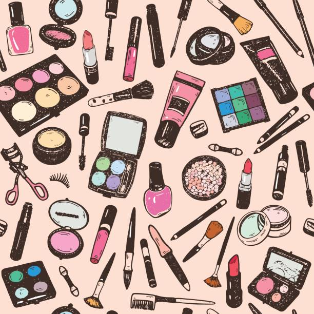 hand drawing colorful cosmetics seamless pattern, nail polish, powder, concealer, mascara, eye shadow. isolaterd vector set - zbiornik wytworzony przedmiot stock illustrations