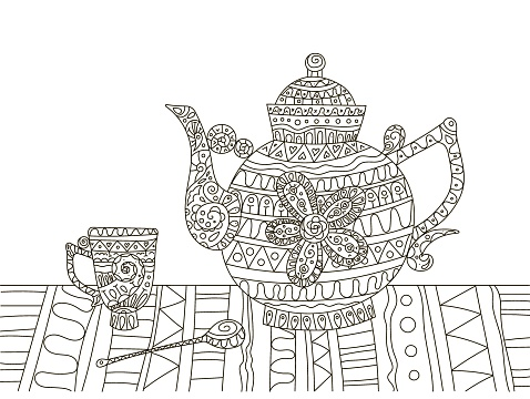 Hand drawing coloring book for children and adults. A beautiful pattern with small details for creativity. Antistress decor still life tea party with teapot, cup and spoon.