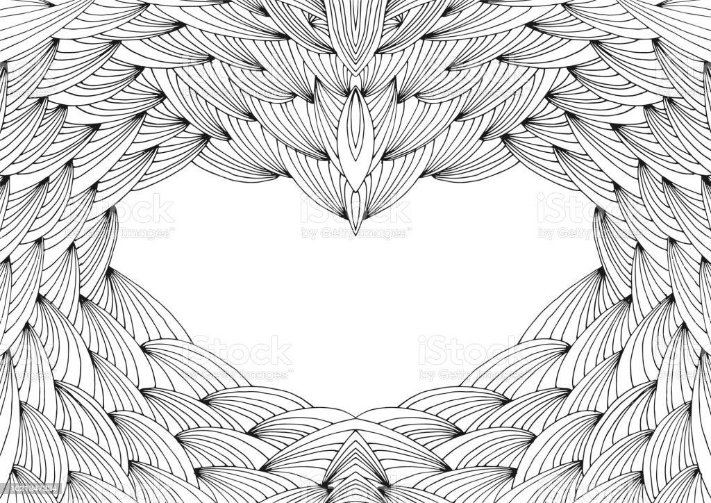 手描きの難しい抽象的な対称波未塗装大人ぬりえ本ページ フレーム