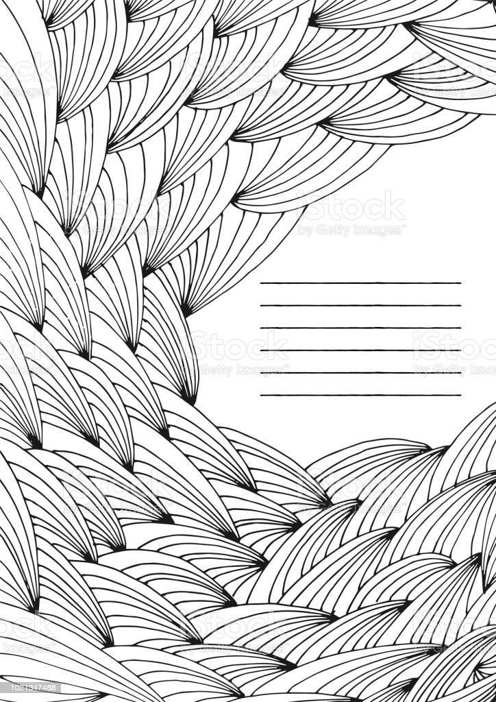 手描きの難しい抽象的な波未塗装大人ぬりえ本ページ フレーム ベクトル