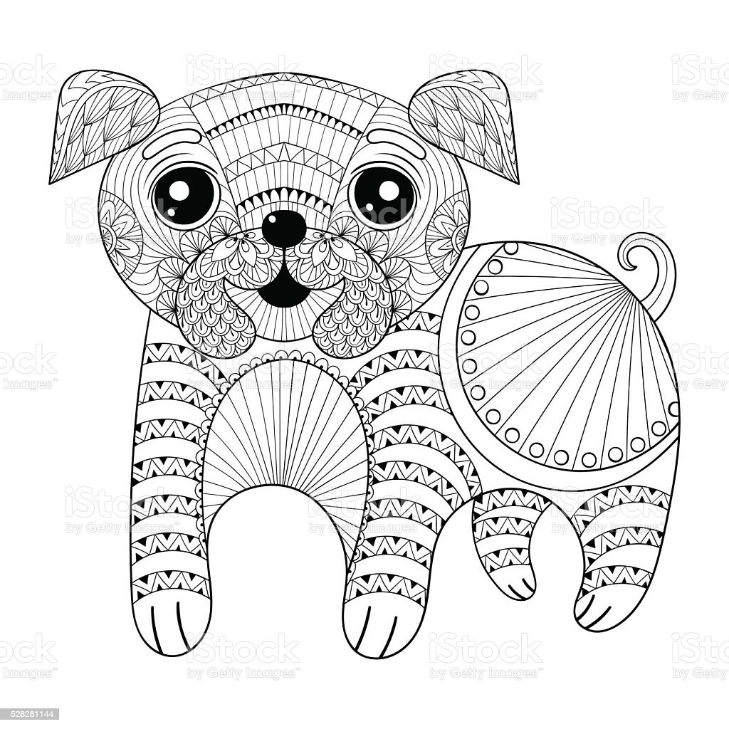 Hand Drawing Dog For Antistress Coloring Pages Post C Stock Vector ...