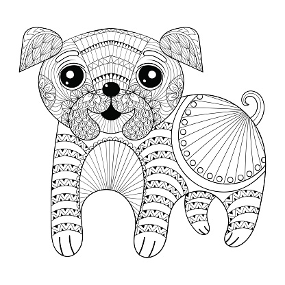 Hand drawing Dog for antistress coloring pages, post c