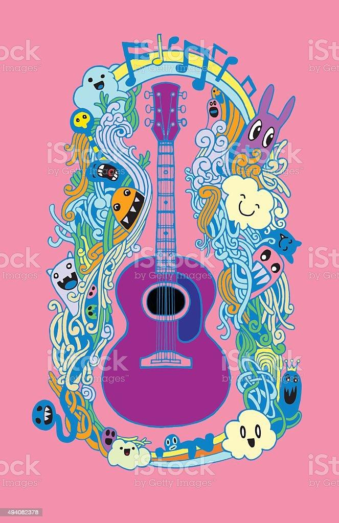 Hand Drawing Doodle Acoustic Guitarflat Design Stock Vector Art