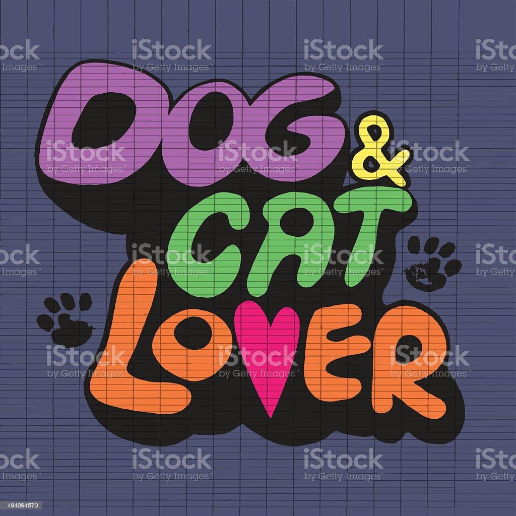 Ilustración De Dibujo A Mano Doodle Perro Y Gato Texto Con Huella De