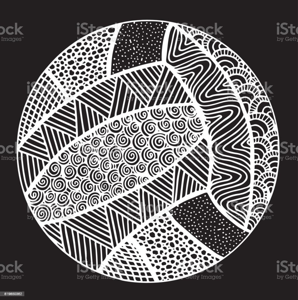 Hand drawing Doodle of leather volleyball ball - Illustration Ball, Checklist, Equipment, Ink, Leather - Ball, Black And White, Black Color, Clip Art vector art illustration
