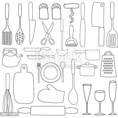 Hand Drawing Doodle Set Of Kitchen Icons Stock Vector Art More