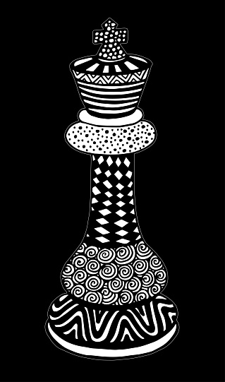 Hand Drawing Doodle Sketch Chess King Vector Illustration Art