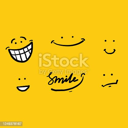 istock hand drawing doodle smile illustration vector isolated background 1249378167