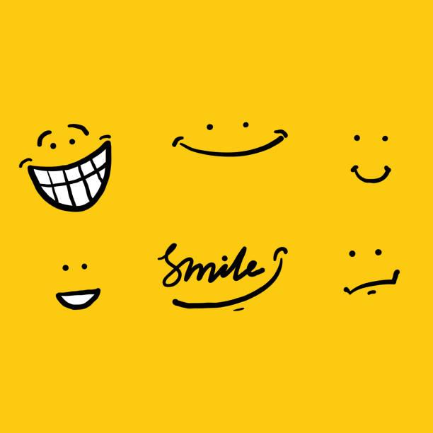 handzeichnung doodle lächeln illustration vektor isolierten hintergrund - freude stock-grafiken, -clipart, -cartoons und -symbole