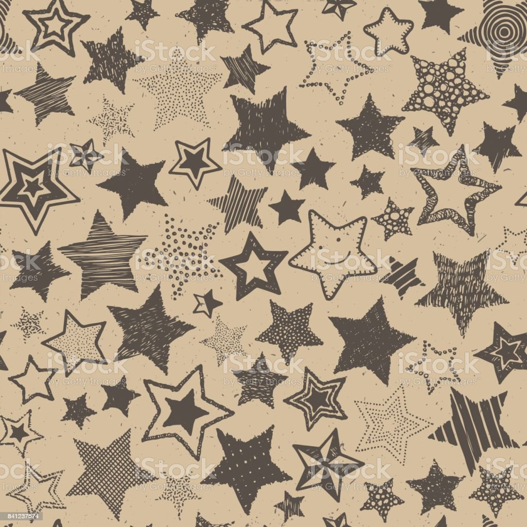 Hand drawing doodle stars graphics in cartoon style on craft paper hand drawing doodle stars graphics in cartoon style on craft paper seamless pattern background royalty jeuxipadfo Image collections