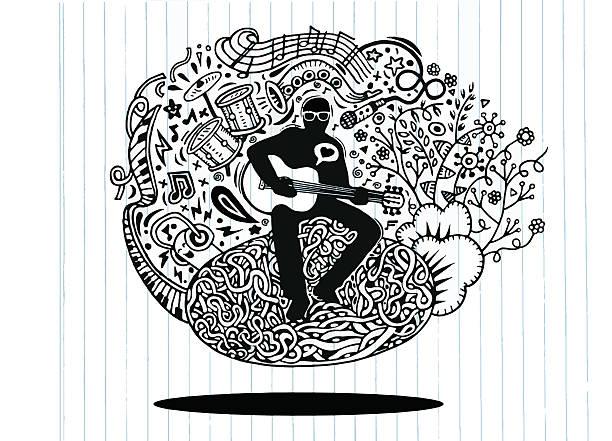 stockillustraties, clipart, cartoons en iconen met hand drawing doodles musician playing guitar and sings - tenor