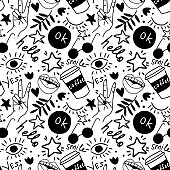 Hand drawing doodles.Seamless pattern with hand phrases and symbols for teenage girls. Vector seamless background for prints, t-shirts, cards, clothes and accessories.