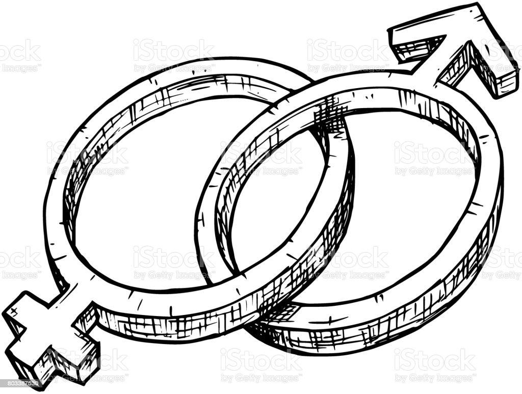Handzeichnung Weiblichen Und Männlichen Symbol Abbildung Stock ...