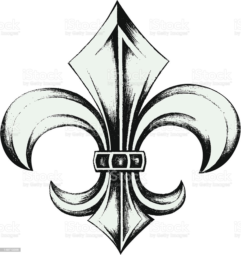 hand drawing fleur de lis vector art illustration